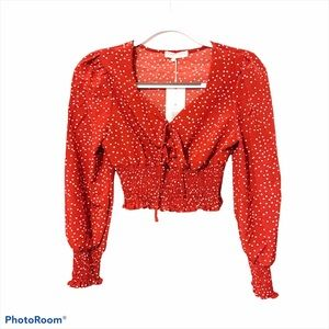 Romwe red polka dot long sleeved blouse size s NWT